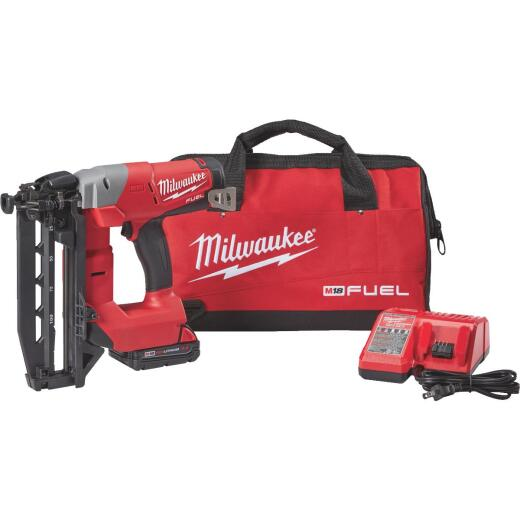 Milwaukee M18 FUEL 18-Volt Lithium-Ion Brushless 16-Gauge 2-1/2 In. Straight Cordless Finish Nailer Kit