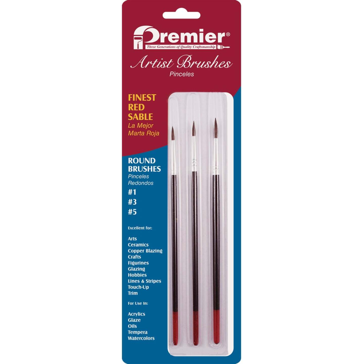 Premier Assorted Red Sable Round Artist Brushes (3-Pieces) Image 1